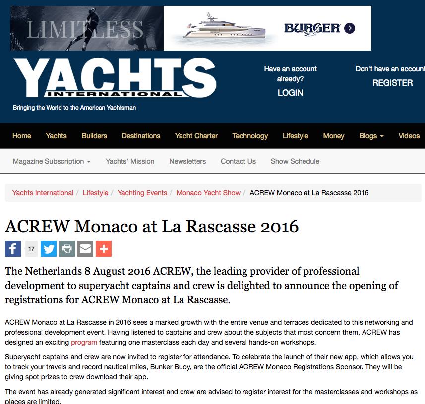 Yachts International – ACREW Monaco at La Rascasse 2016