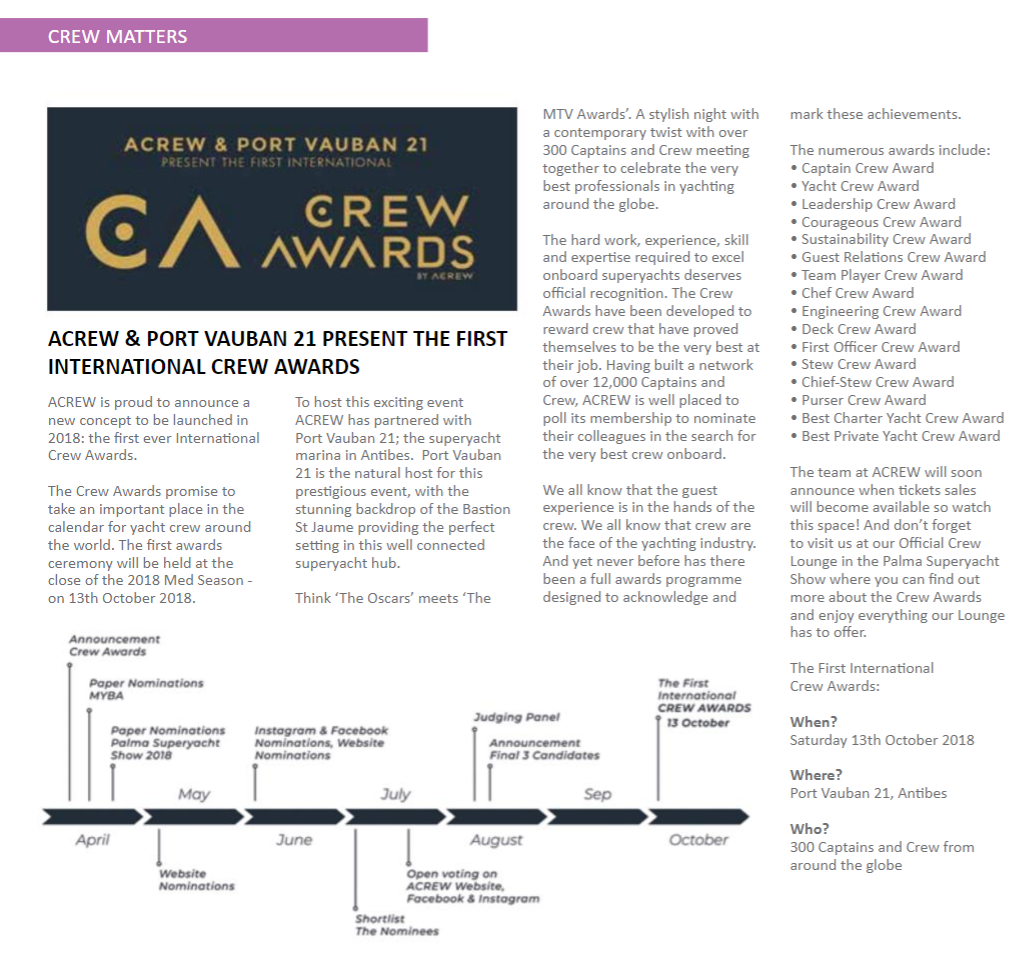 ACREW & PORT VAUBAN 21 PRESENT THE FIRST INTERNATIONAL CREW AWARDS
