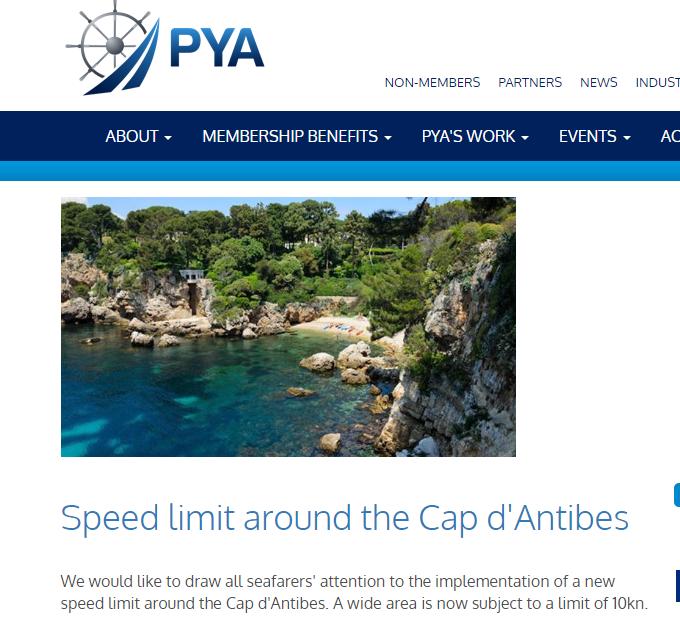 Speed limit around the Cap d'Antibes