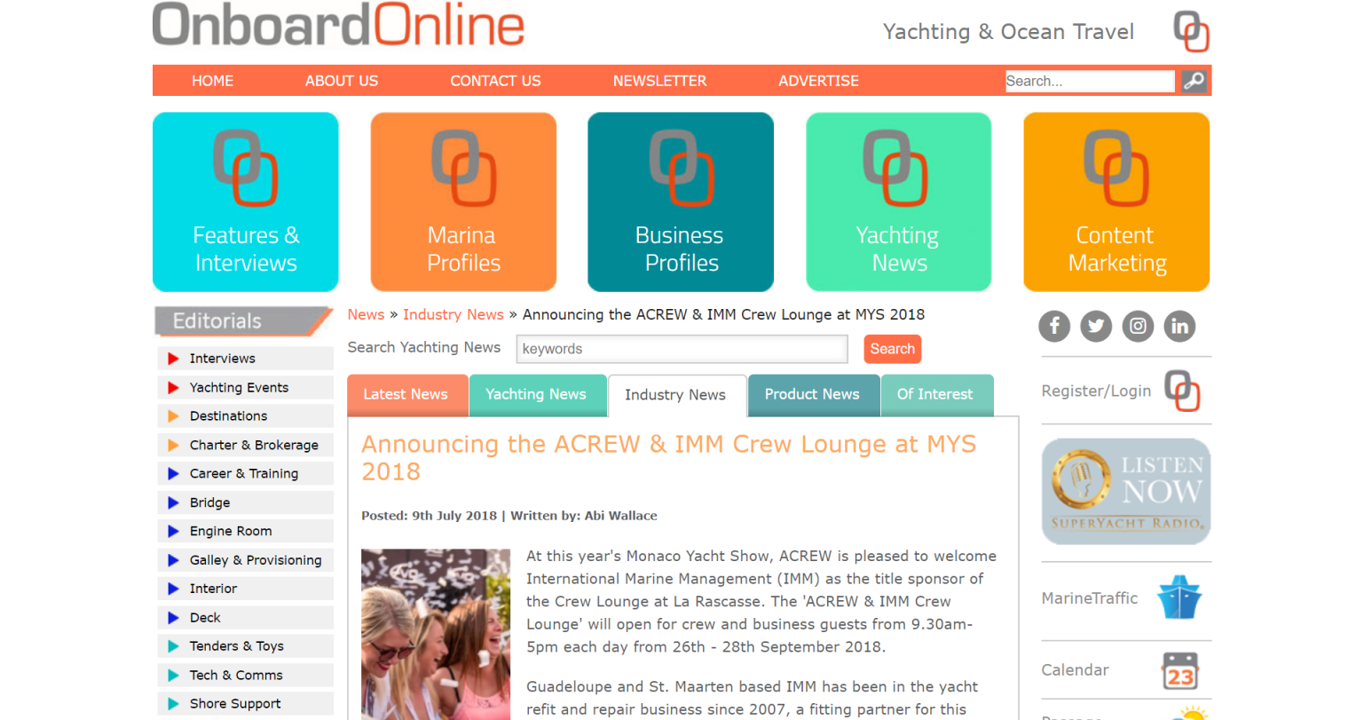 Onboard Online – Announcing the ACREW & IMM Crew Lounge at MYS 2018