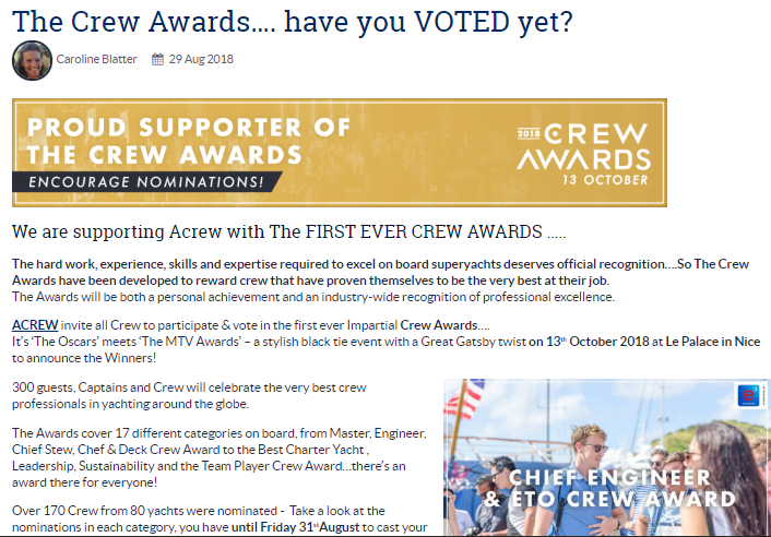 The Crew Awards…. have you VOTED yet?