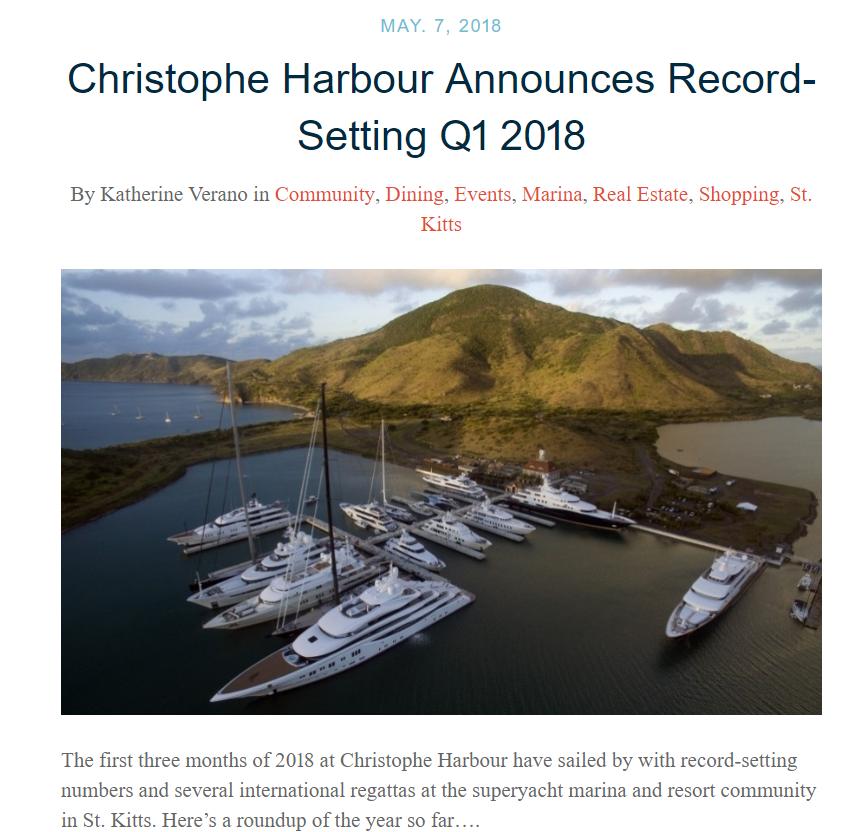Christophe Harbour Announces Record-Setting Q1 2018