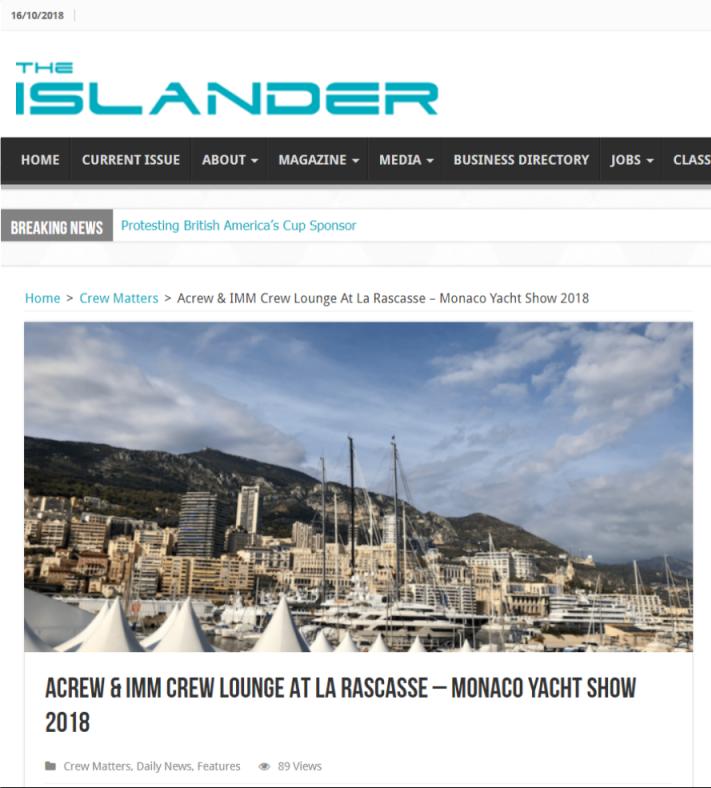 ACREW & IMM Crew Lounge At La Rascasse – Monaco Yacht Show 2018