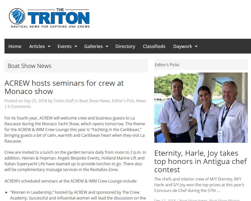 ACREW hosts seminars for crew at Monaco show