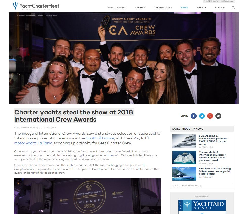 Charter yachts steal the show at 2018 International Crew Awards