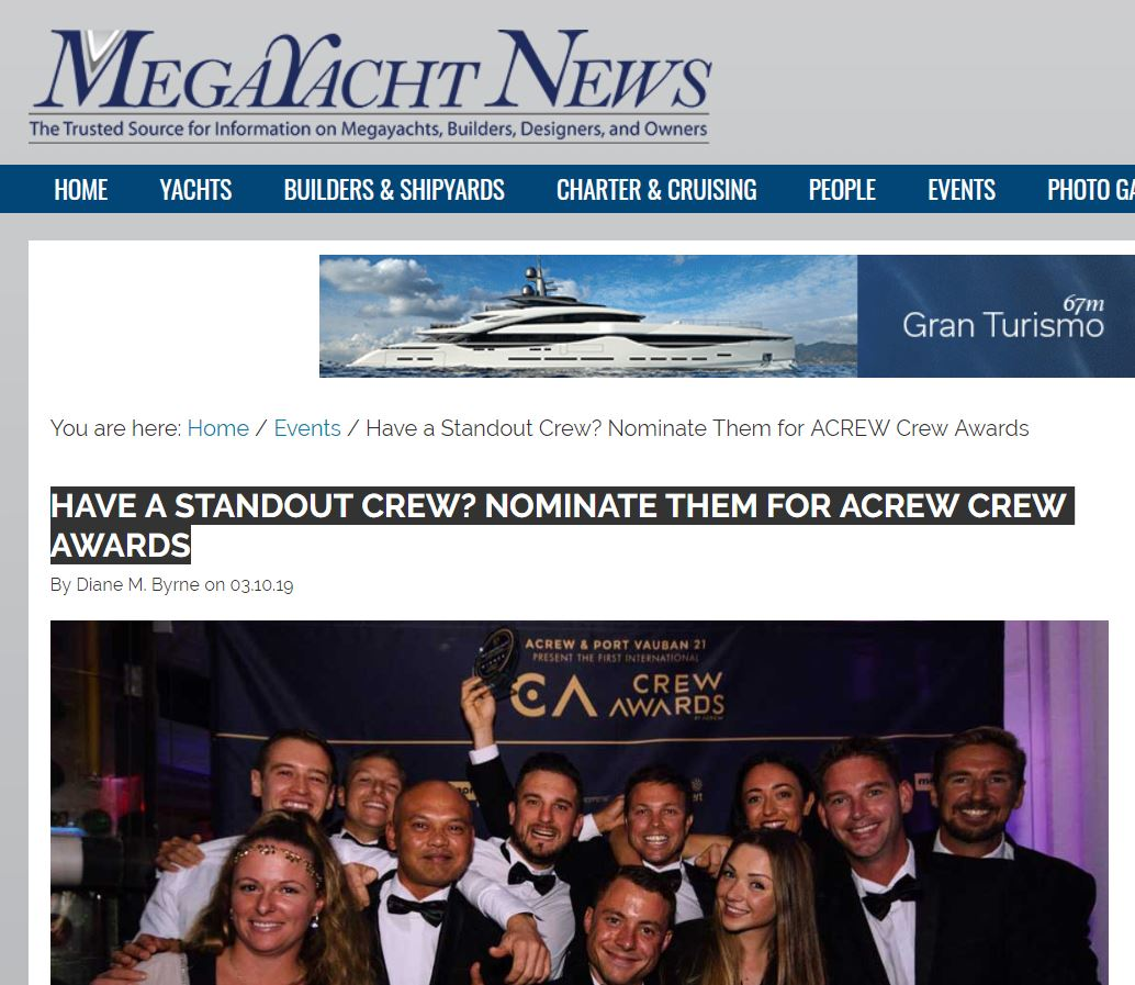 HAVE A STANDOUT CREW? NOMINATE THEM FOR ACREW CREW AWARDS