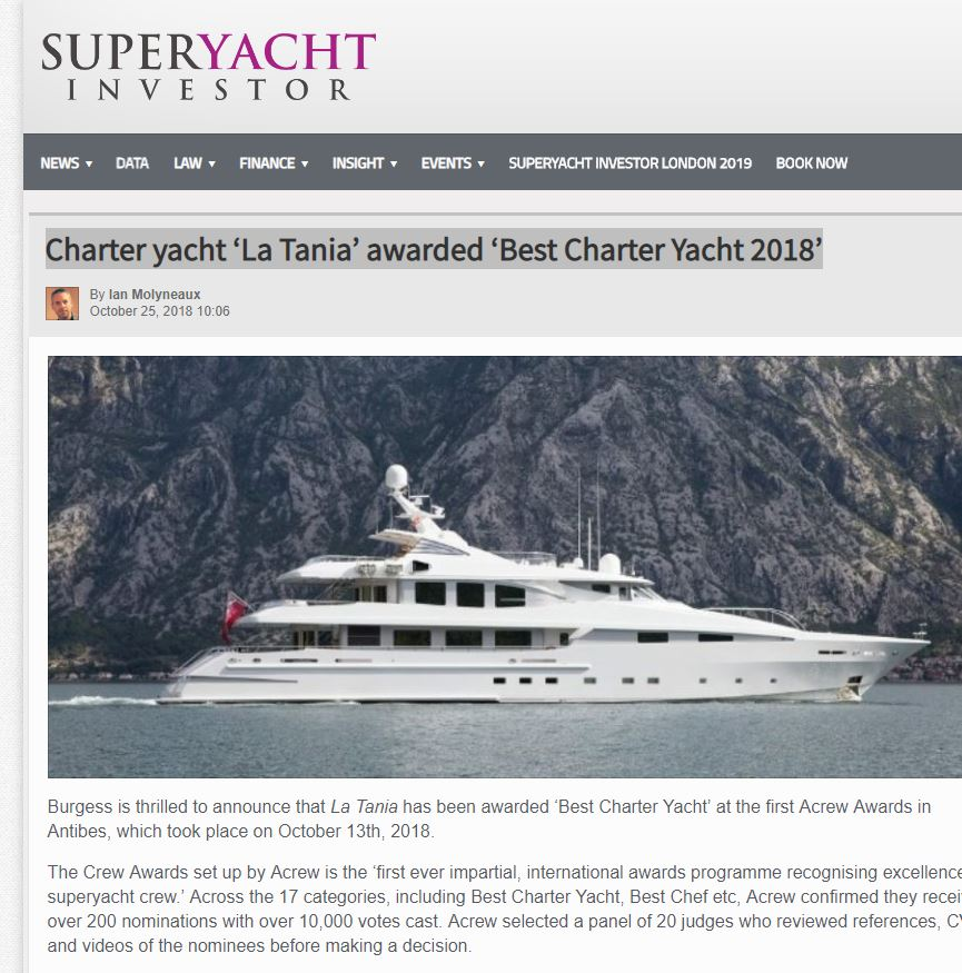 Charter yacht 'La Tania' awarded 'Best Charter Yacht 2018'