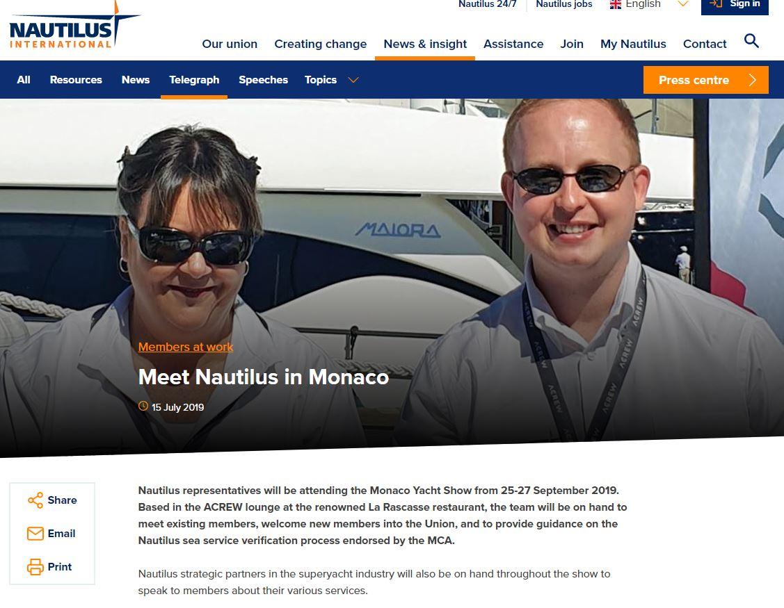 Meet Nautilus in Monaco at ACREW & IMM Crew Lounge