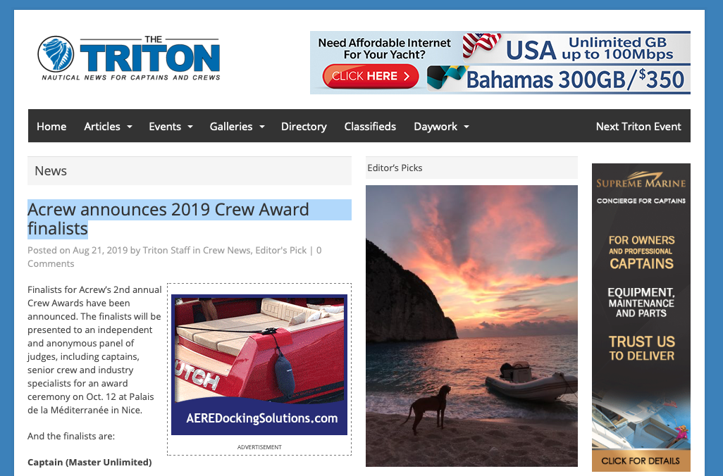 ACREW announces 2019 Crew Award finalists