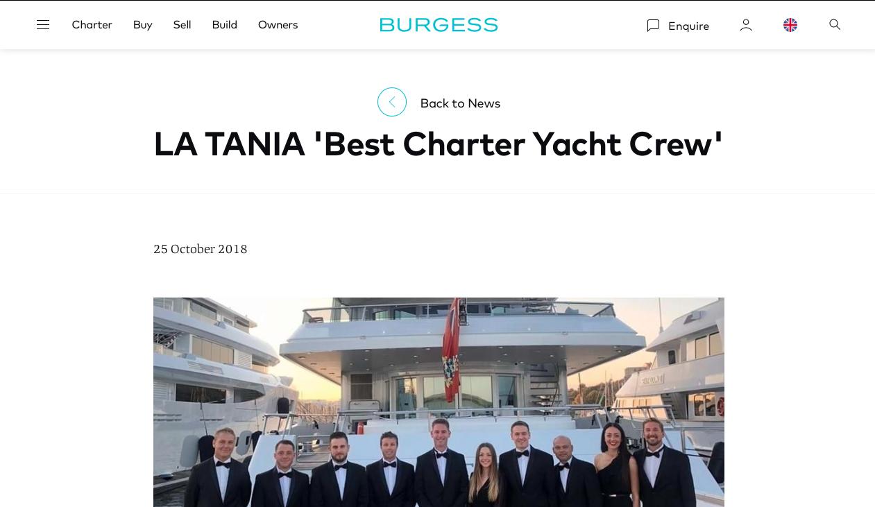 LA TANIA 'Best Charter Yacht Crew'