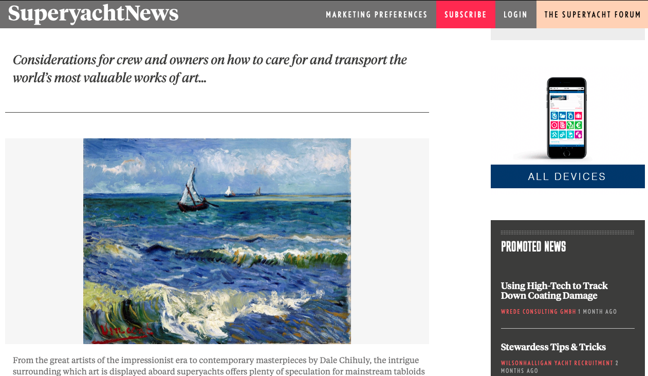 Protecting priceless art collections on board