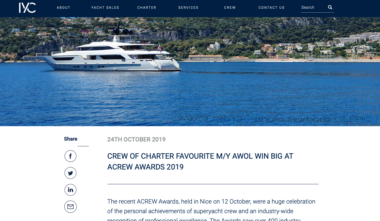 CREW OF CHARTER FAVOURITE M/Y AWOL WIN BIG AT ACREW AWARDS 2019